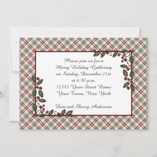 Red Green Plaid Holly Berries Leaves Invitation