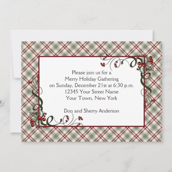 Red Green Plaid Holly Berries Ribbon Invitation