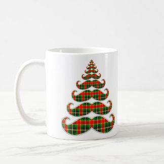Red & Green Plaid Mustache Christmas Tree Mug
