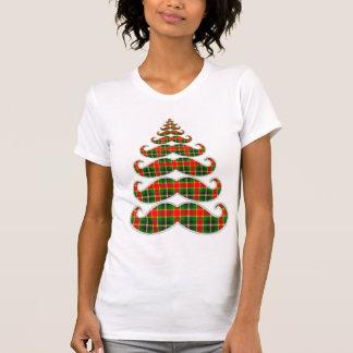 Red & Green Plaid Mustache Christmas Tree T-shirt