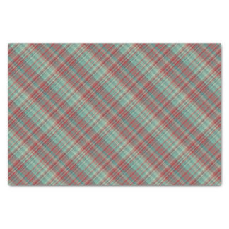 "Red Green Plaid Pattern 10"" X 15"" Tissue Paper"