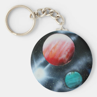 Red Green Planets and White star spraypainting Basic Round Button Keychain