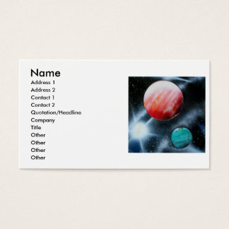 Red Green Planets and White star spraypainting Business Card