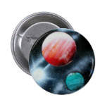 Red Green Planets and White star spraypainting Pins
