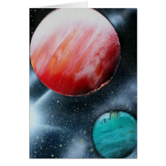 Red Green Planets and White star spraypainting Card