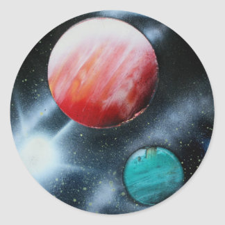 Red Green Planets and White star spraypainting Classic Round Sticker