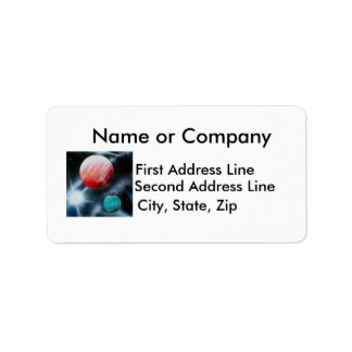 Red Green Planets and White star spraypainting Label