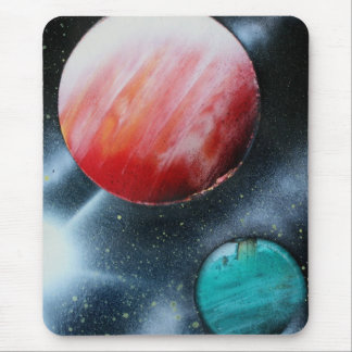 Red Green Planets and White star spraypainting Mouse Pad