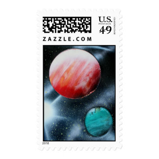Red Green Planets and White star spraypainting Postage Stamp