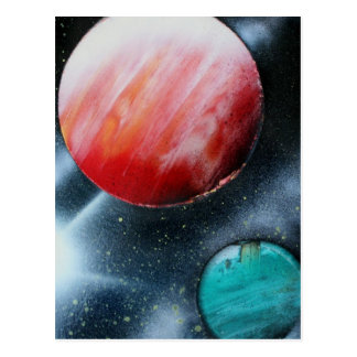 Red Green Planets and White star spraypainting Postcard