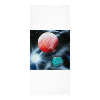 Red Green Planets and White star spraypainting Rack Card
