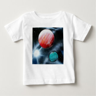 Red Green Planets and White star spraypainting Tee Shirt