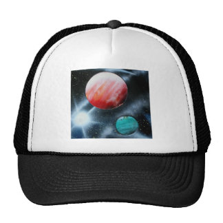 Red Green Planets and White star spraypainting Trucker Hat