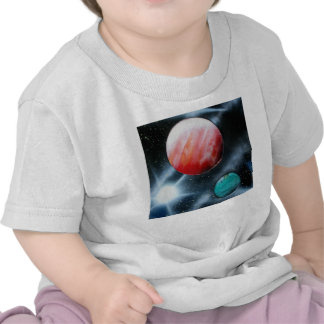 Red Green Planets and White star spraypainting T-shirts