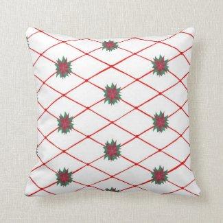 Red Green Poinsettias Criss Cross Pattern Pillows