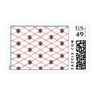 Red Green Poinsettias Criss Cross Pattern Stamps
