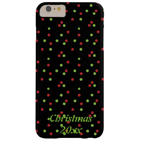 Red & Green Poka-dots on Black Phone Case
