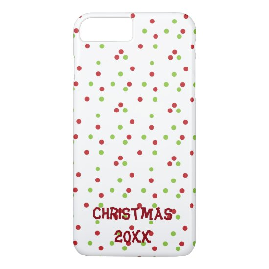 Red & Green Polka-dot Christmas Design iPhone 7 Plus Case