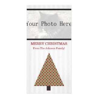 Red & Green Polka Dot Christmas Tree Photo Cards