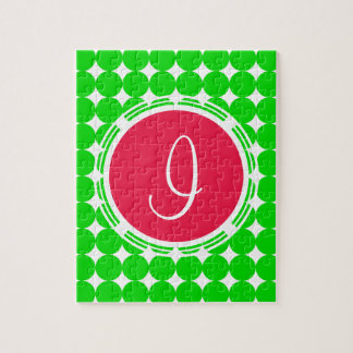 Red & Green Polka Dot Monogram Jigsaw Puzzle