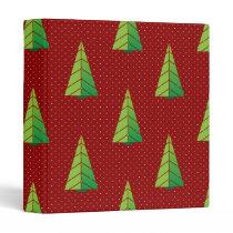 red green, polka dots and christmas trees binder