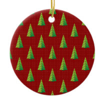 red green, polka dots and christmas trees ceramic ornament