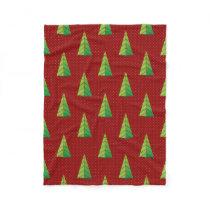 red green, polka dots and christmas trees fleece blanket