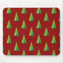 red green, polka dots and christmas trees mouse pad