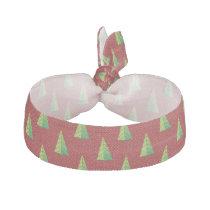 red green, polka dots and christmas trees ribbon hair tie