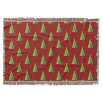 red green, polka dots and christmas trees throw