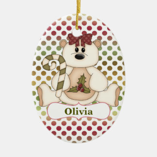 Red Green Polkadot Bear Personalized Double-Sided Oval Ceramic Christmas Ornament