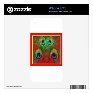 Red-Green-Purple-Gold Peacock Feathers gifts Skins For iPhone 4S