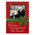 Red Green Quatrefoil Gift Photo Christmas Card