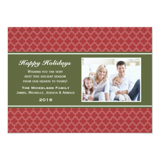 "Red Green Quatrefoil Holiday Flat Card 5.5"" X 7.5"" Invitation Card"