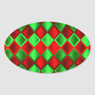 Red Green Quilt Harlequin Oval Sticker