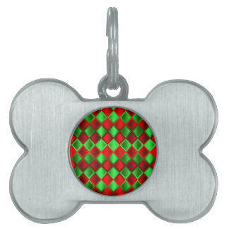 Red Green Quilt Harlequin Pet ID Tag