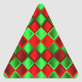 Red Green Quilt Harlequin Triangle Sticker