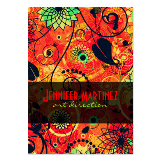 Red & Green Retro Floral Collage Large Business Cards (Pack Of 100)