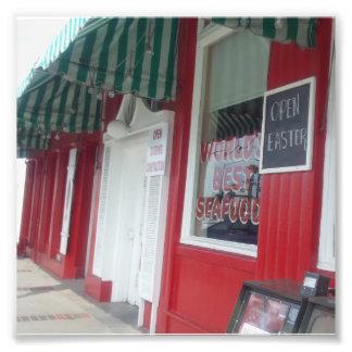 Red & Green Retro-style Architecture Photo Print
