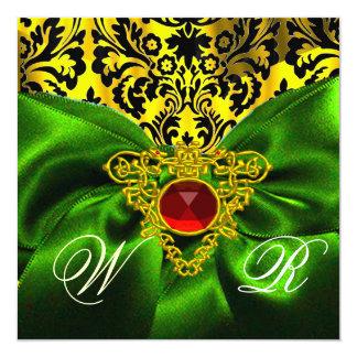 RED GREEN RIBBON GOLD CELTIC HEART DAMASK MONOGRAM CARD