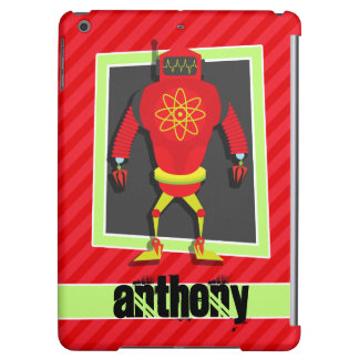 Red & Green Robot; Scarlet Red Stripes Case For iPad Air