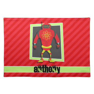 Red & Green Robot; Scarlet Red Stripes Cloth Placemat