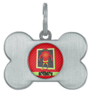 Red & Green Robot; Scarlet Red Stripes Pet ID Tag
