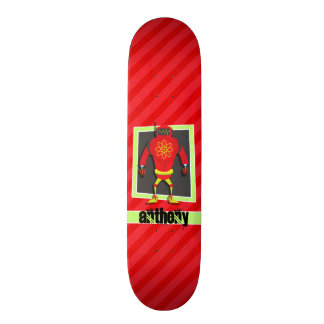 Red & Green Robot; Scarlet Red Stripes Skateboard