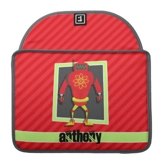 Red & Green Robot; Scarlet Red Stripes Sleeve For MacBook Pro