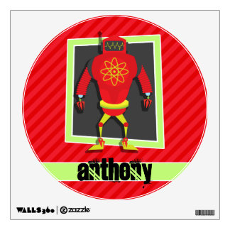 Red & Green Robot; Scarlet Red Stripes Wall Stickers