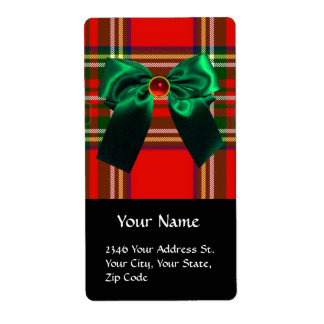 RED  GREEN SCOTTISH TARTAN AND CHRISTMAS BOWS LABEL