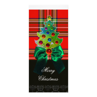 RED GREEN SCOTTISH TARTAN,BOWS AND CHRISTMAS TREE RACK CARD