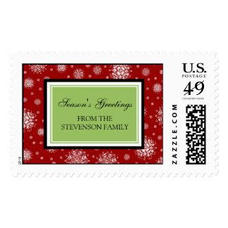 Red Green Season's Greetings Custom Name Stamps