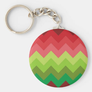 Red green shades chevron pattern key chain